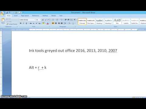 Genuine method -How to overcome greyed out pen and ink in MS Office 2016, 2013, 2010, 2007