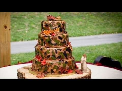 Camo Wedding Cakes [White wedding cakes with rustic accents]