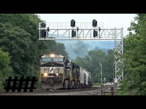 NS Trains at Huntingdon, PA Station PT 202.5 on the Pittsburgh Line at South 4th St RR Crossing