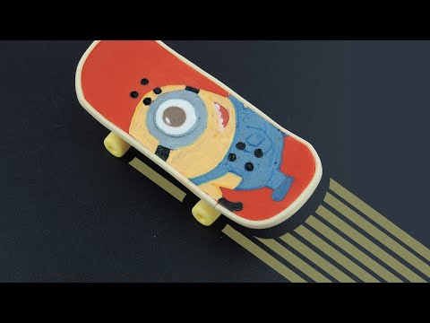 MINION Fondant SKATEBOARD Cake Topper Tutorial (by SweetSugarCraft) - Skateboard Cake Topper
