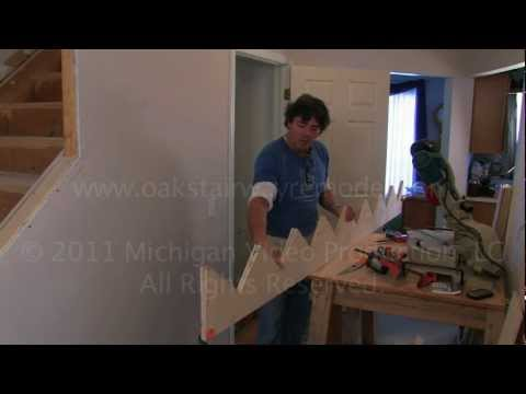 How to rough cut stairway skirting to re-skin stringers for a staircase makeover.