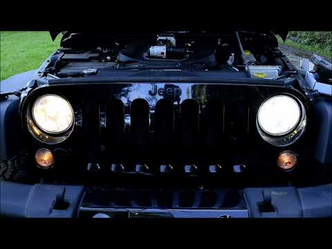 Jeep Wrangler 2015 LED Headlight Conversion - Auxbeam F-16 - Stock Light Comparison