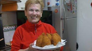 Pasta Grannies enjoys arancini from Catania in Sicily!