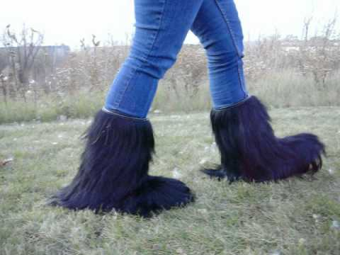 Regina Womens Black Fur Boots - Made With Real Goat Fur