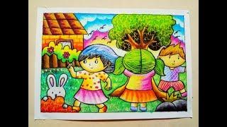 Cara Menggambar Dan Mewarnai Gradasi Crayon Gadis Berkerudung Merah