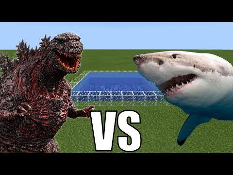 GODZILLA vs WHITE SHARK in Minecraft PE