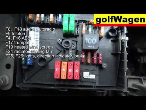 VW Golf 5 fuse location and fuse diagram /engine fuse too/