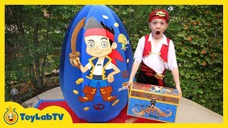 Giant Egg Surprise Opening! Jake and the Neverland Toys & Animal Planet Sharks Kids Video