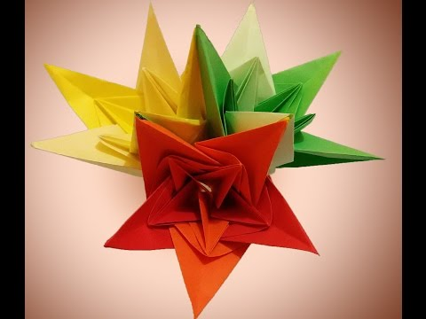 DIY origami flower - paper bells . Bouquet for Christmas. Holiday Room decoration