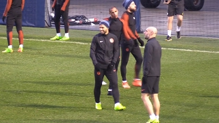 Manchester City Players Train Ahead Of Champions League Match Against Monaco