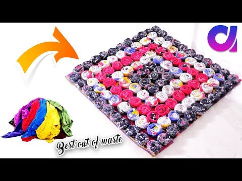 how to Reuse Your Old Clothes to make rugs, carpet, table mat | clothes recycling | Artkala 251