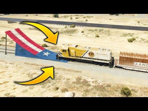 ¿Que pasa si un Tren Pasa por una Rampa en GTA 5? | ¿Puede Una Rampa Detener El Tren de GTA V?