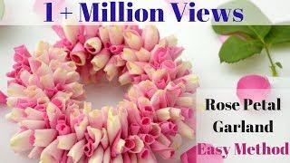how to string rose petals garland  easy method to make garland rose petals  rainbow rangoli