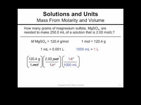 Mass From Molarity and Volume