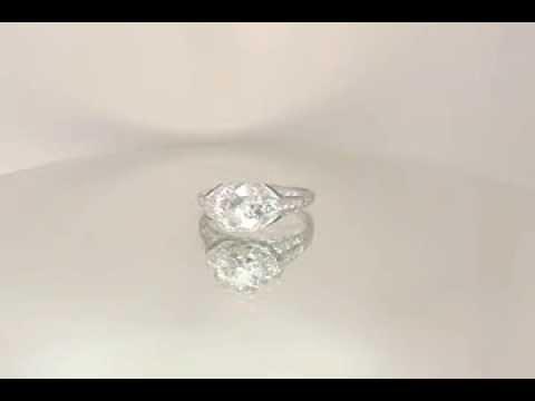 Art Deco Vintage Diamond and Emerald Engagement Ring from Artdecodiamonds.com