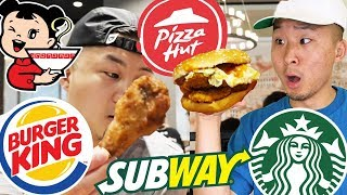 DOES FAST FOOD TASTE BETTER IN CHINA? (Pizza Hut, Burger King, Starbucks, Subway)| Fung Bros