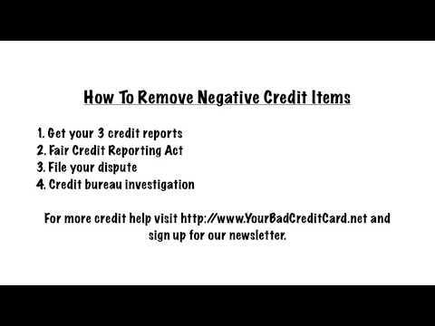 How To Remove Negative Credit Items