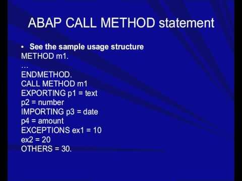 ABAP CALL METHOD statement