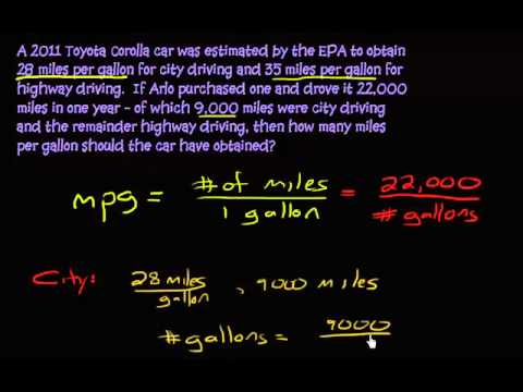 Finding the overall miles per gallon