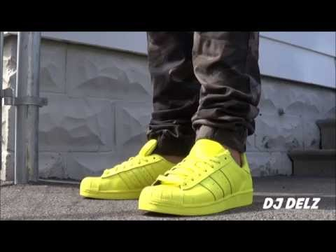 Pharrell adidas Originals Superstar Bright Yellow Supercolors Shoe Unboxing + On Feet With @DjDelz