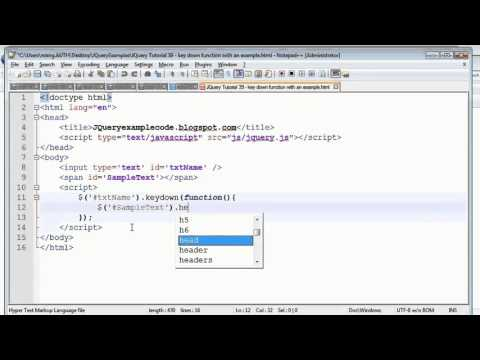 JQuery Tutorial 39 - key down function with an example