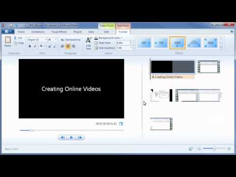 Movie Maker: Adding a Title and Credits