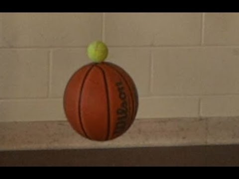 Tennis ball + Basketball momentum // Homemade Science with Bruce Yeany