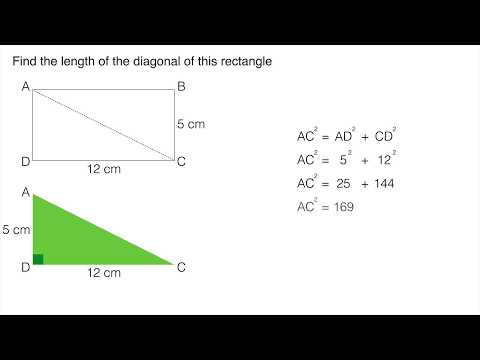 Pythagoras' Theorem: Finding the diagonal of a rectangle