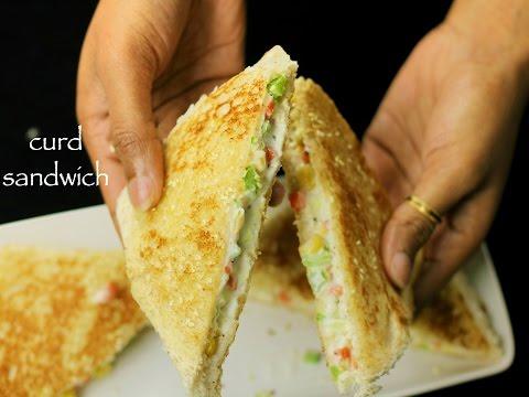 curd sandwich recipe | yogurt sandwich recipe - kids lunch box recipe