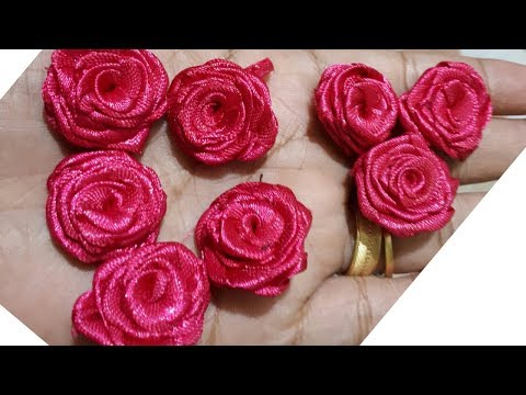How to make satin ribbon rose / DIY Fabric rose / DIY Satin ribbon rose / Ribbon rose tutorial