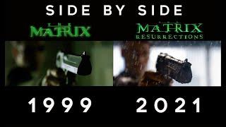 The Matrix 1999 \u0026 The Matrix Resurrections 2021 Side By Side Comparison