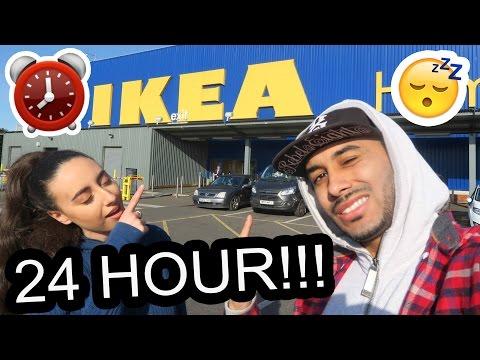 24 HOUR CHALLENGE IN IKEA ⏰ OVERNIGHT FORT!! 🚨