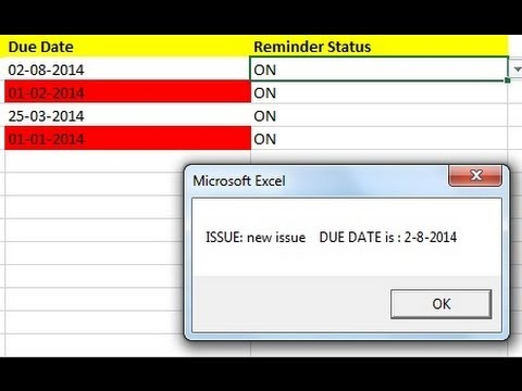 Excel alerts reminders notifications - poup after Win startup - how to create
