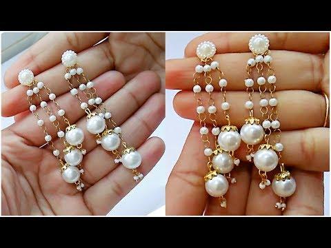 How To Make Pearl Earrings//Tassel earrings At Home..!