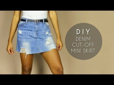 DIY Denim Cut-Off Skirt (NO SEWING)