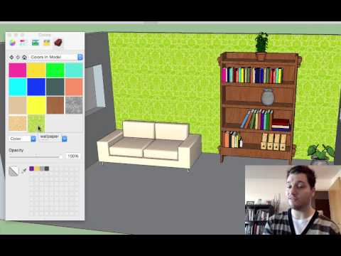 Sketchup Lesson 6: Wallpaper, Textures, Colours, Glass & Art
