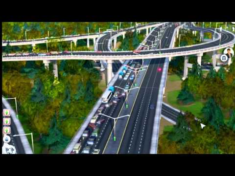 SimCity 5 spaghetti junction with lots of traffic