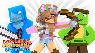 BOYFRIEND VS GIRLFRIEND VS BROTHER! Minecraft Zombie Challenge | Little Kelly