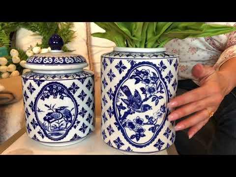 Set of 2 Blue and White Porcelain Lidded Vases