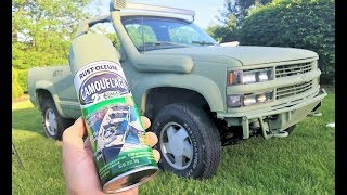 I SPRAY PAINTED MY ENTIRE TRUCK ARMY GREEN FOR $35!!! The Results Are INSANE...