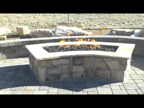 Colorado Landscape Contractor Installing A Gas Firepit (Veneer Stone)