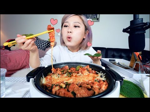 Can't get enough.....🧀🧀Cheesy Spicy Pork Belly Stir Fry Mukbang | KEEMI★