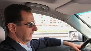 President Bashar al-Assad filmed driving himself to the Syrian civil war