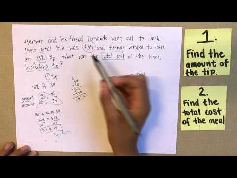 Percent Word Problem: Finding Tip and Total Cost SBAC, PARCC, ASVAB