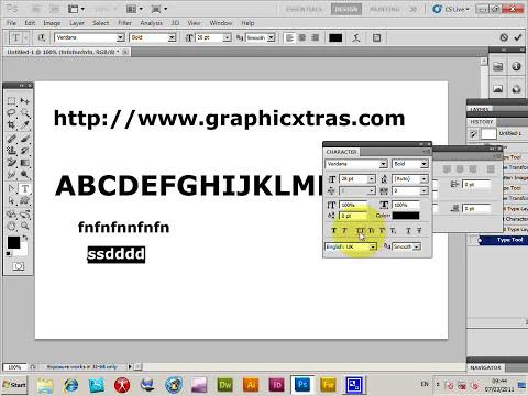 Caps lock, uppercase, caps off in Photoshop tutorial - typing in Uppercase (CS5 CS4 CS3 etc)