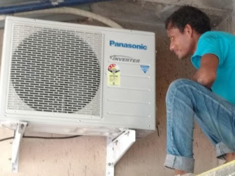 How to Install Split AC Outdoor Unit | Panasonic US18SKY-1 Air Conditioner Outdoor Unit Installation