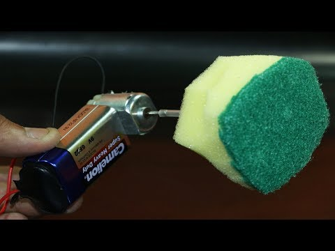 How to Make a Electric Cleaner Using Dish Washing Sponge.