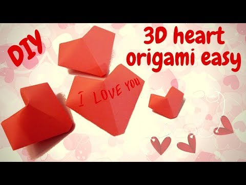Origami Easy  How to make 3D Heart with paper  - Hand made