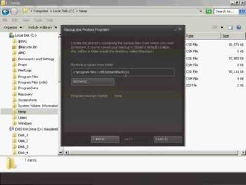 How to restore a Steam game backup that spans multiple discs or disk directory file folders