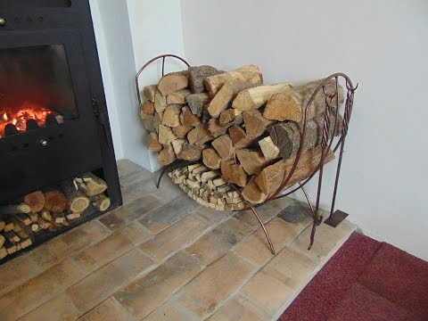 Making a fireplace log holder with accessories
